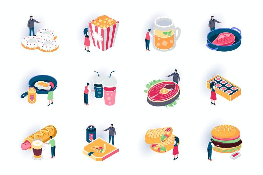 Foodstuffs Isometric Icons Pack