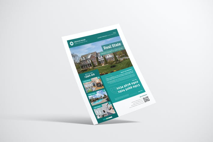 Thumbnail for Property Flyer Design mit türkisfarbener Farbe