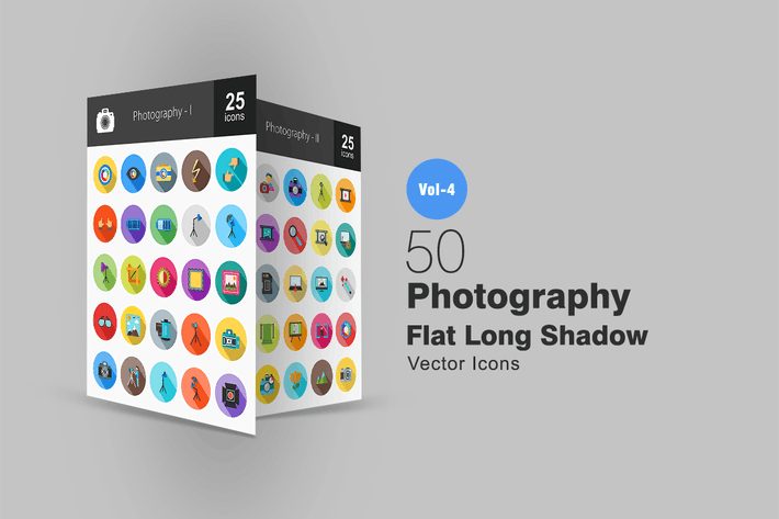 Thumbnail for 50 Photography Flat Shadowed Icons