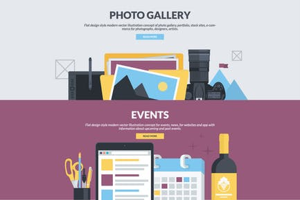 Flat Design Banners for Photo Gallery and Events