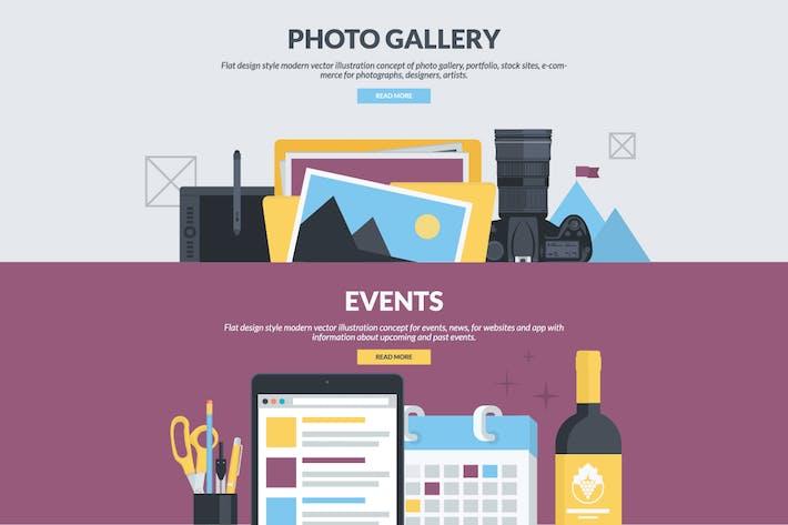 Flache Design Banner für Fotogalerie und Veranstaltungen