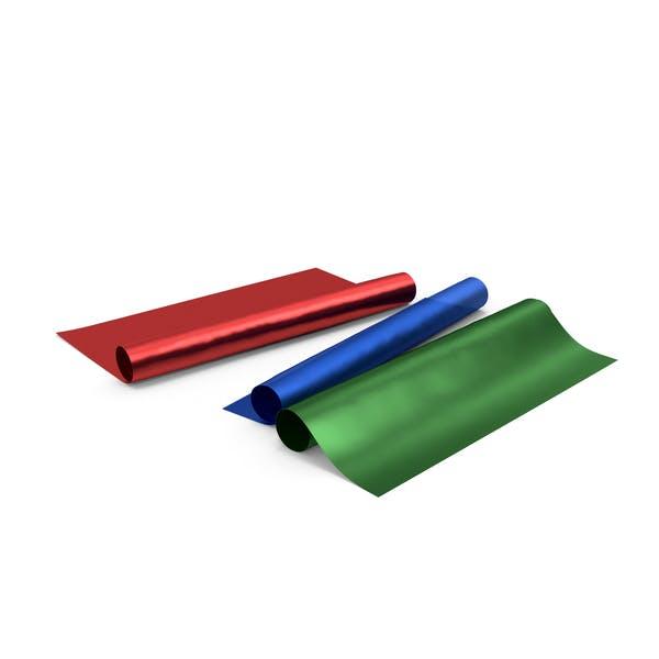 Drei blaue und rote und grüne Papierrollen für Geschenke