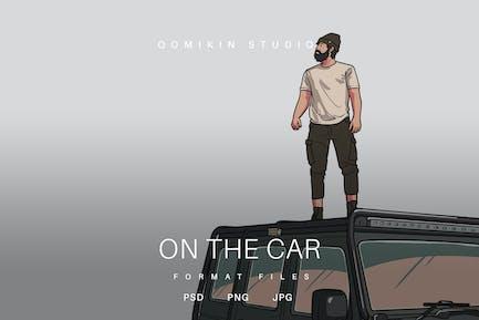 On the Car Illustration