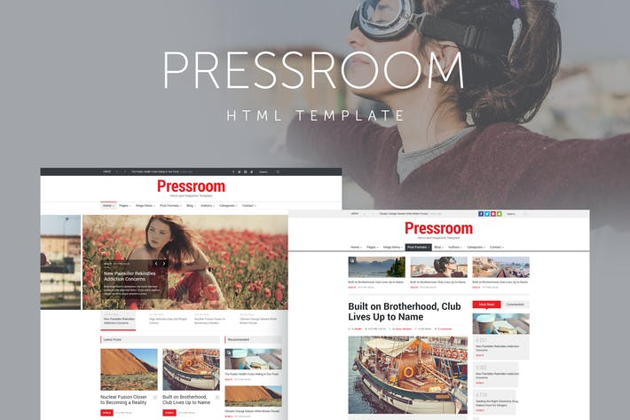 Thumbnail for Pressroom - Responsive News and Magazine Template