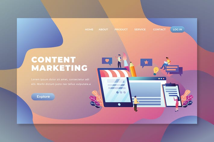 Thumbnail for Content Marketing - PSD and AI Vector Landing Page
