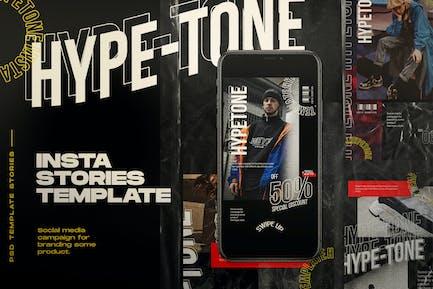 Hypetone - Modèle de médias sociaux et Instastories