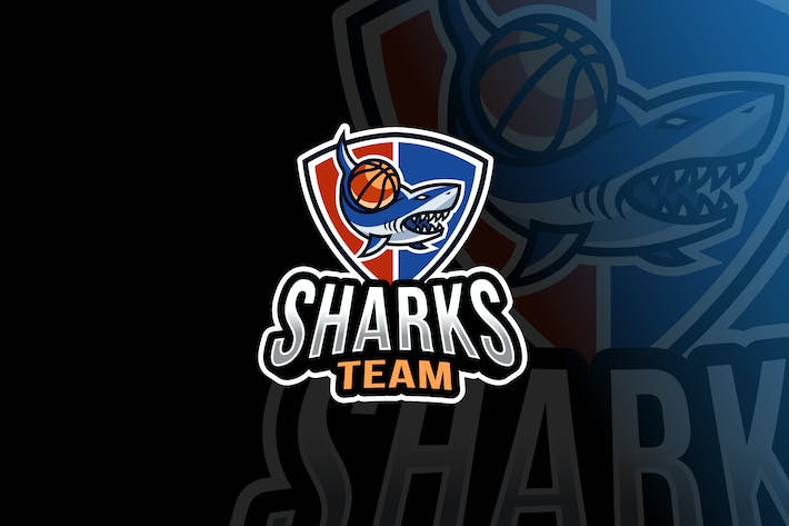 Thumbnail for Sharks Basketball Logo Template