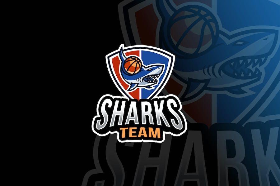 Sharks Basketball Logo Template