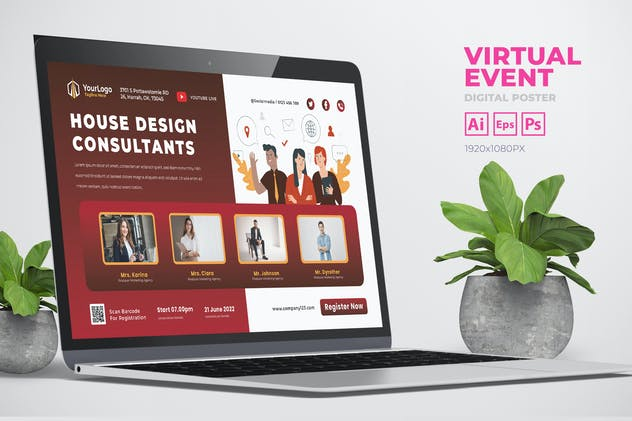 Business Virtual Event Digital Poster Flyer