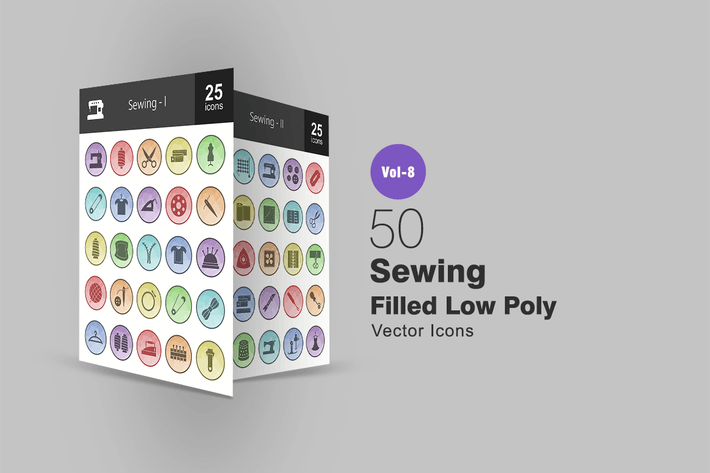 Thumbnail for 50 Sewing Filled Low Poly Icons