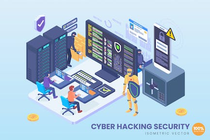 Isometric Cyber Hacking Security Vector Concept