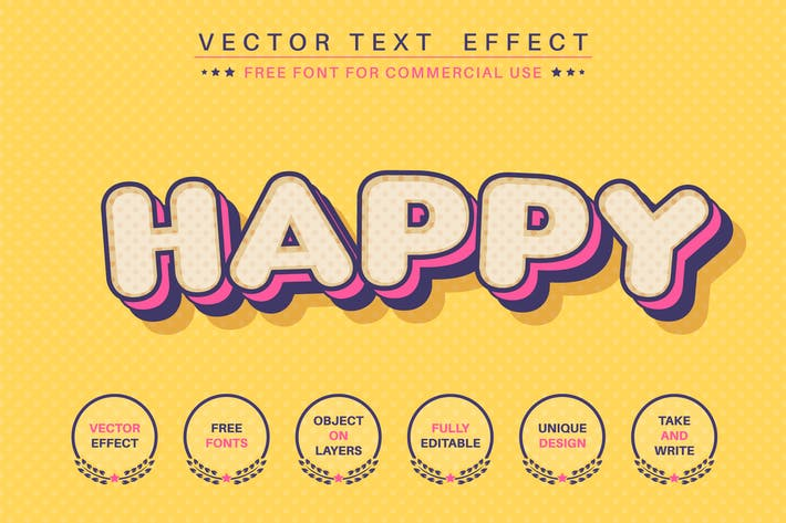 Comic dot - editable text effect,  font style