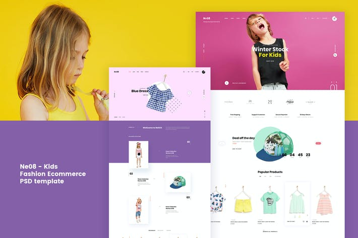 Thumbnail for Ne08 - Kids Ecommerce PSD template