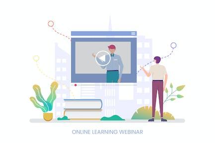 Online Learning Webinar Vector Illustration