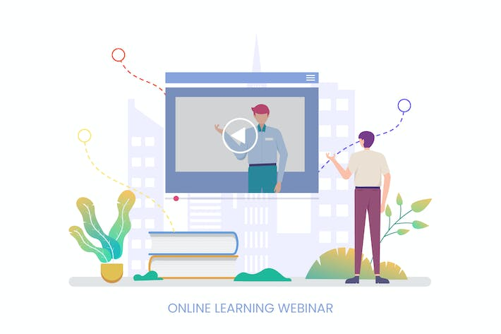 Thumbnail for Online Learning Webinar Vector Illustration
