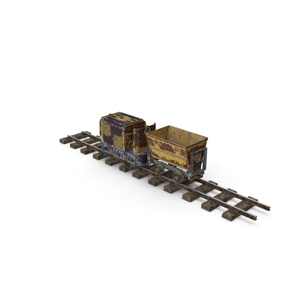 Mining Locomotive with Minecart on Railway Section Rusted