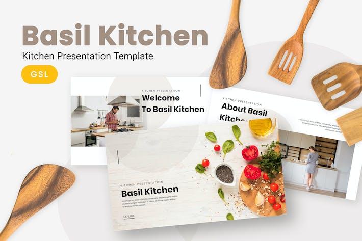 Базилик - Кухня Google слайды Шаблон