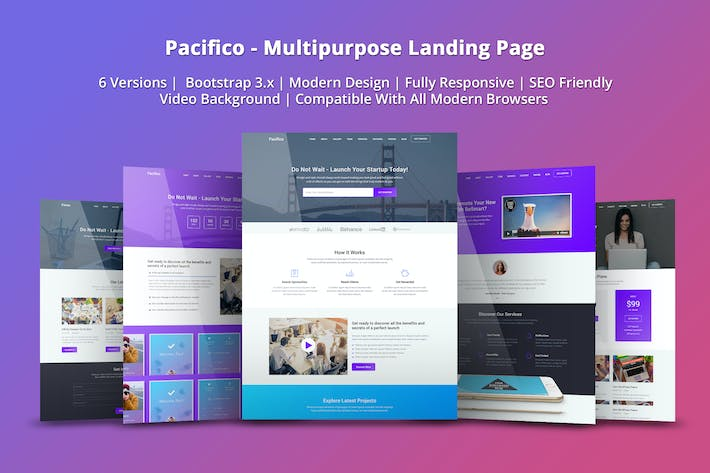 Thumbnail for Pacifico - Multipurpose HTML Landing Page