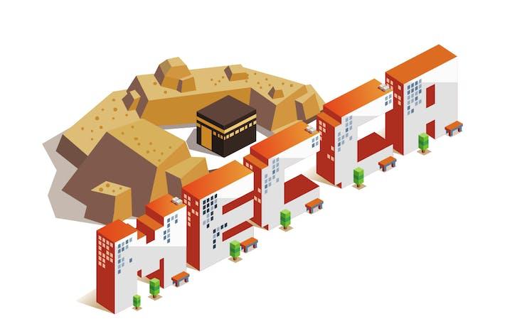 Thumbnail for Mekka Stadt isometrischer Text FlachVektor