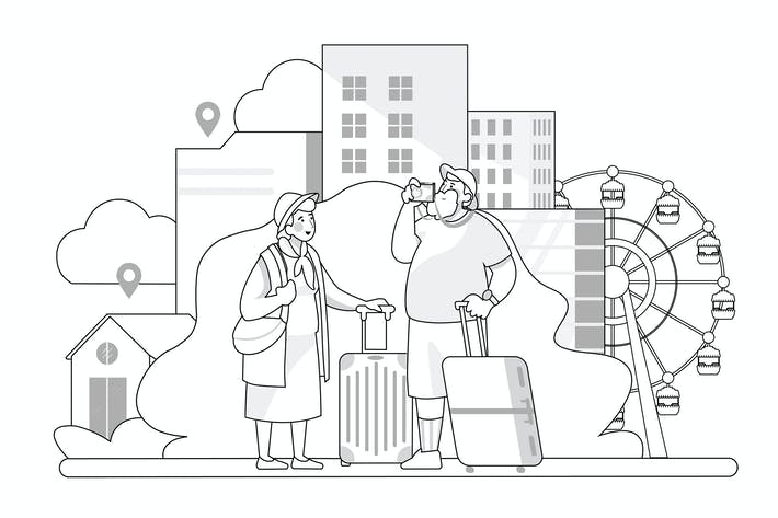 Thumbnail for Travel concept - Thin line art style illustration