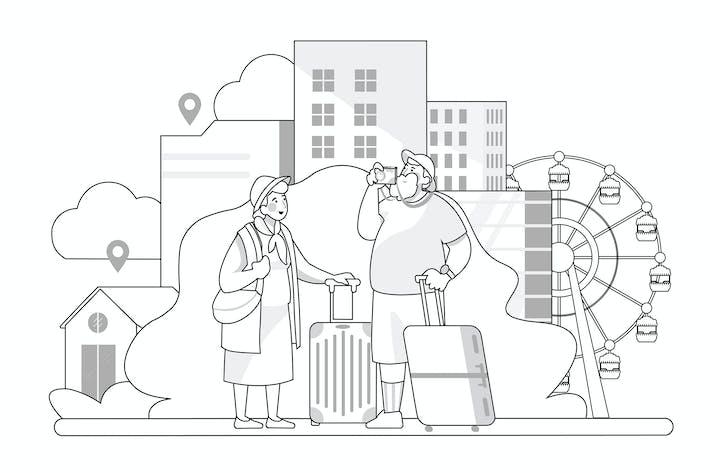 Reisekonzept - Thin Line Art Style Illustration