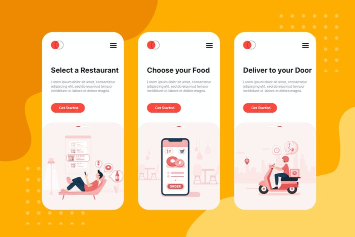 Thumbnail for On boarding screens for Food Delivery service app