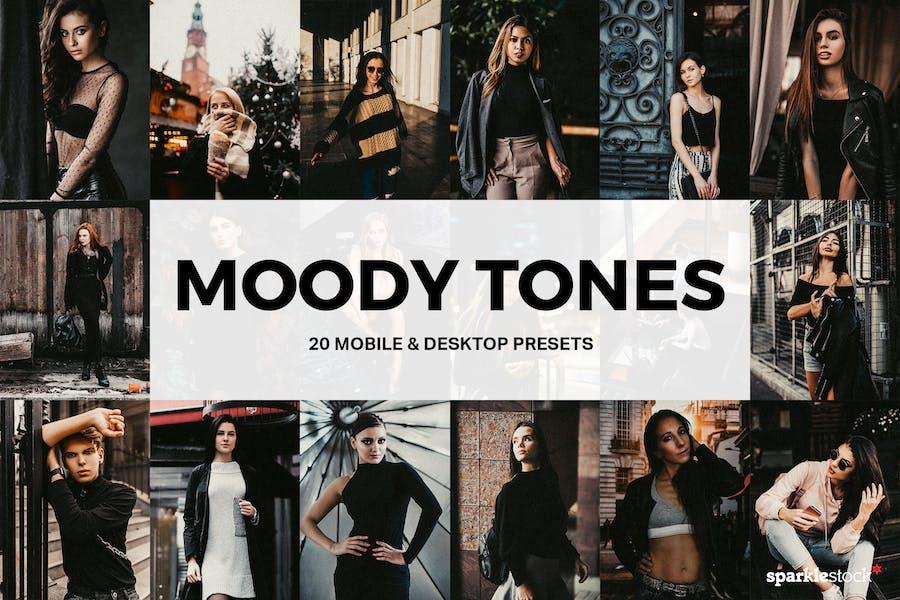 20 Moody Tones Lightroom Presets and LUTs