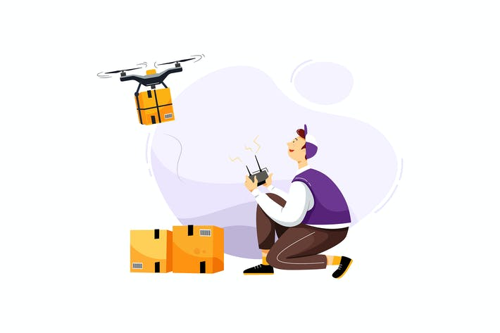 Thumbnail for Drone Delivery Service Vector Illustration