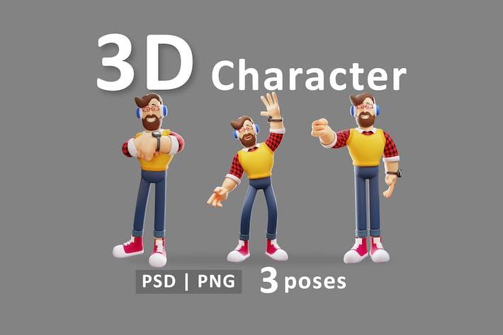 Hombre - Conjunto de Ilustración 3D Dibujos Animados Joven Casual