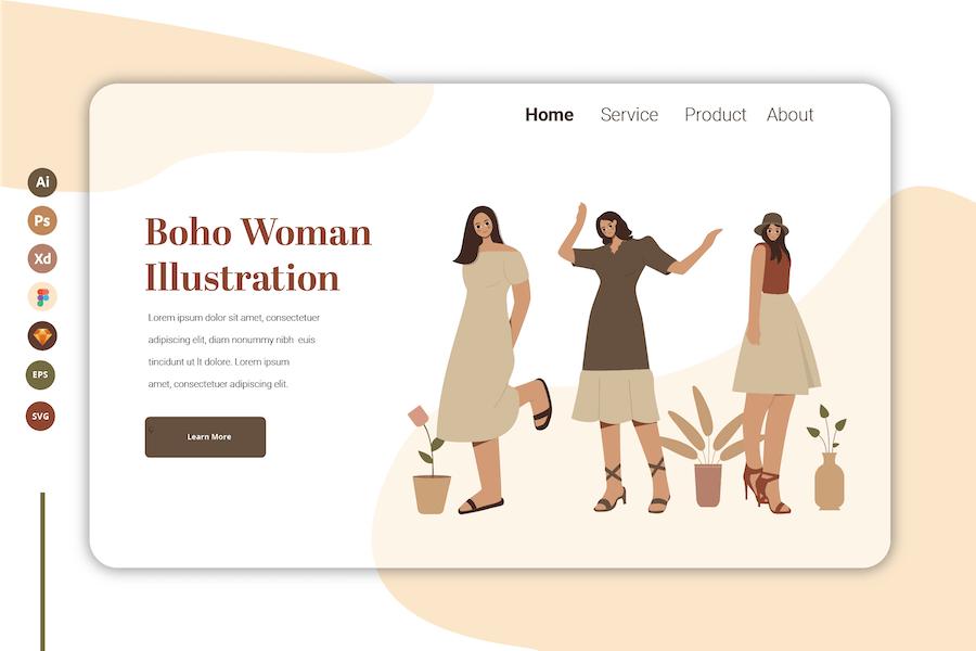 Boho Woman Vol 10 - Landing Page Template
