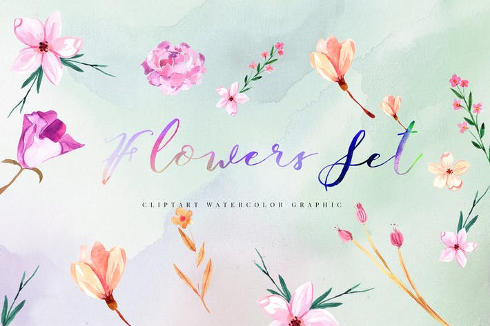 Cover Image For 15 Watercolor Flowers Set Illustration