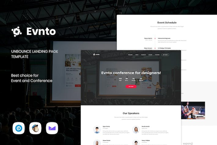 Cover Image For Evnto - Event & Conference Unbounce Landing Page