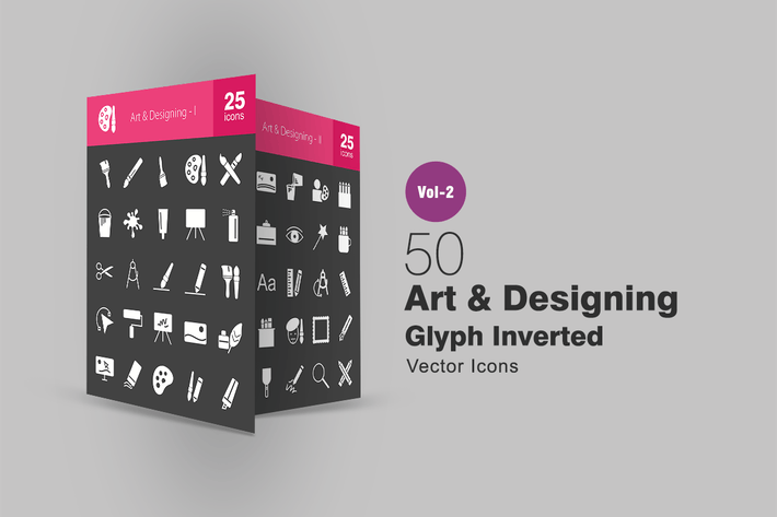 Thumbnail for 50 Art & Designing Glyph Inverted Icons