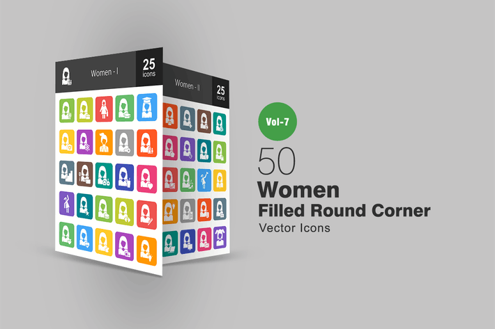 Thumbnail for 50 Women Filled Round Corner Icons