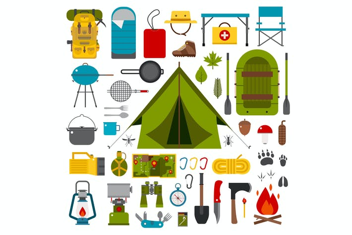 Thumbnail for Camping and Hiking Vector Icons