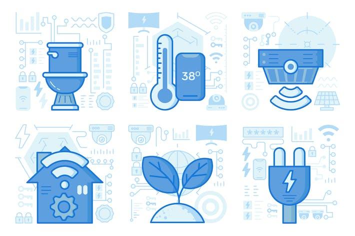 Smartphone Temperature Control UI UX Illustrations