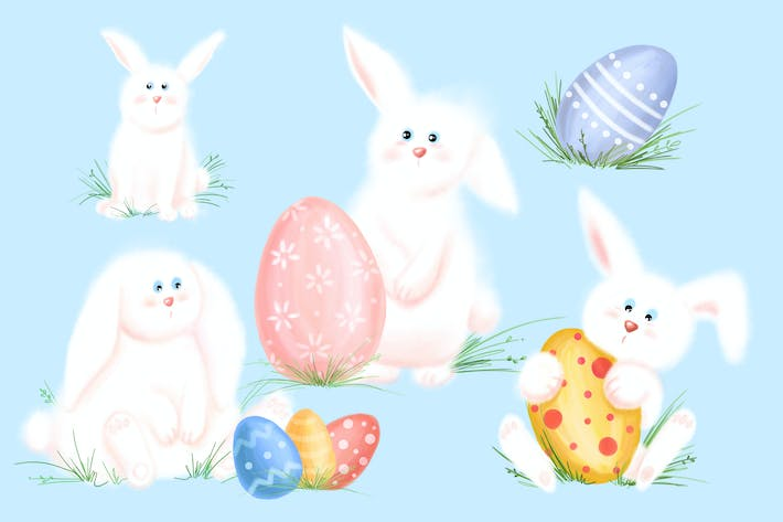 Thumbnail for Fluffy Easter Bunny Clipart