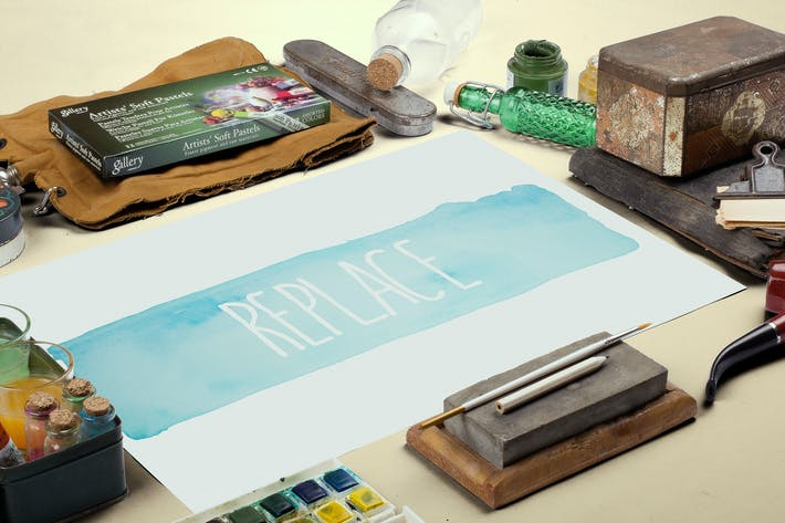 Thumbnail for Watercolor Paint Mockup Template #2