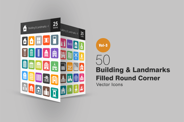 Thumbnail for 50 Buildings & Landmarks Flat Round Corner Icons