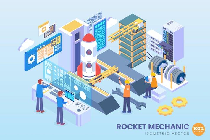 Thumbnail for Isometric Rocket Mechanic Vector Concept