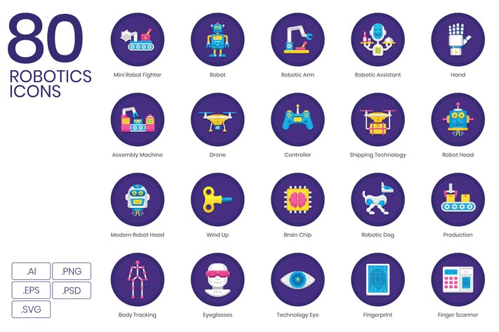 Thumbnail for 80 Robotics Icons | Orchid Series