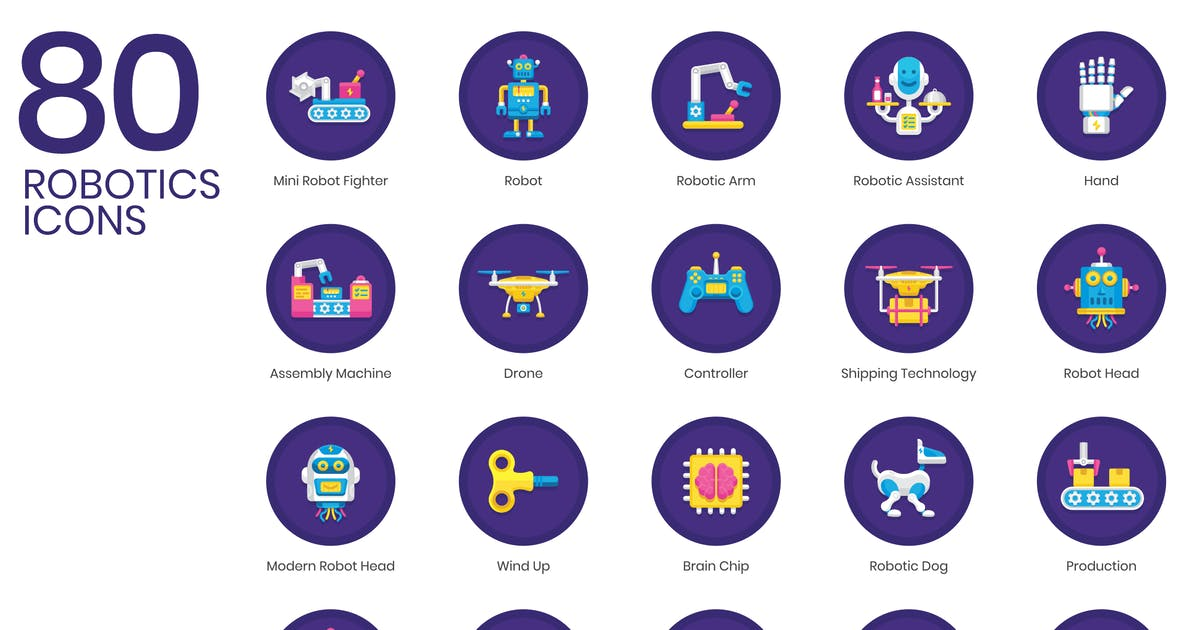 80 Robotics Icons | Orchid Series by Krafted