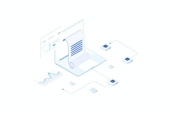 Thumbnail for Financial Report on Blockchain Isometric 3 - FV