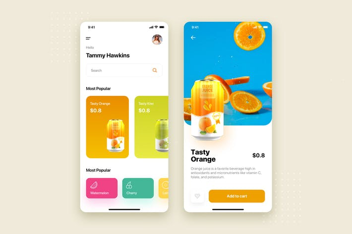 Thumbnail for Fruit Juice Mobile App UI Kit Template
