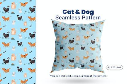 Seamless Pattern Cat Dog Animal