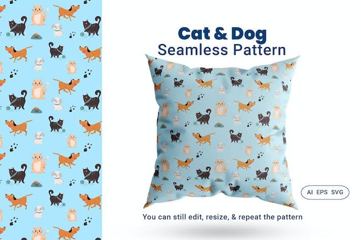 Thumbnail for Seamless Pattern Cat Dog Animal