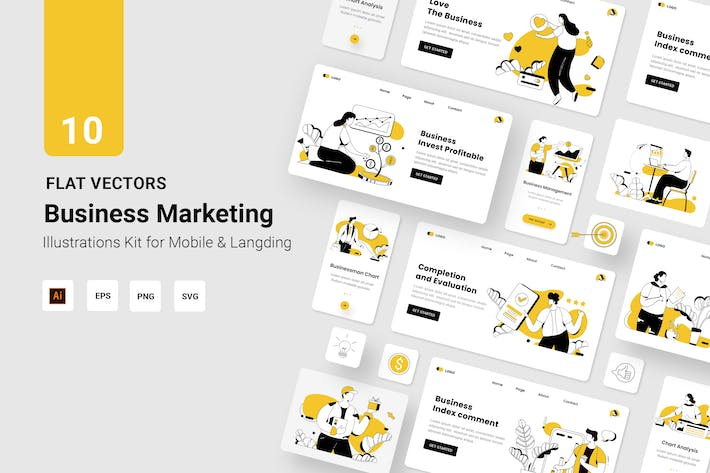 Business Vectors Illustration Flat Line