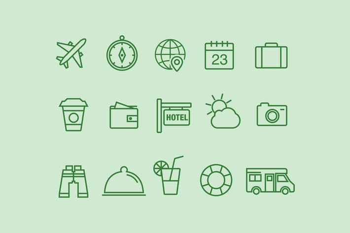 Thumbnail for 15 Thin Line Travel Icons