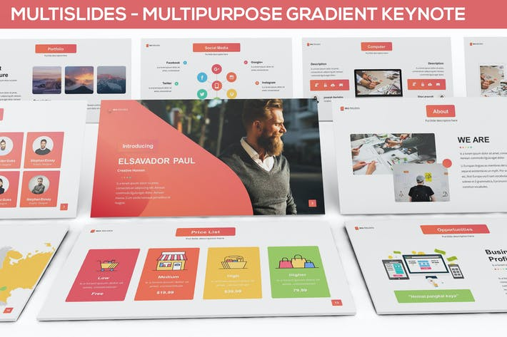 Thumbnail for MultiSlides - Multipurpose Gradient Keynote