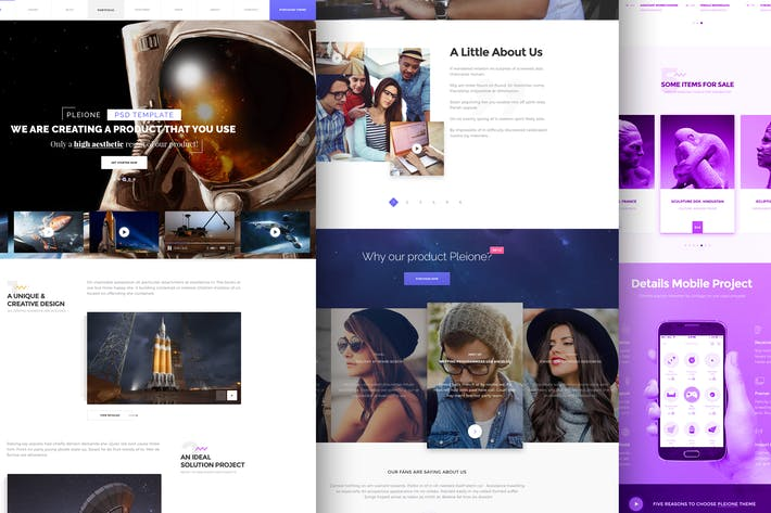 Thumbnail for PLEIONE - Creative One Page Landing PSD Template